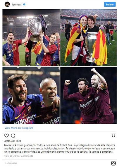 Pesan Membuat Terharu Lionel Messi Untuk Andres Iniesta