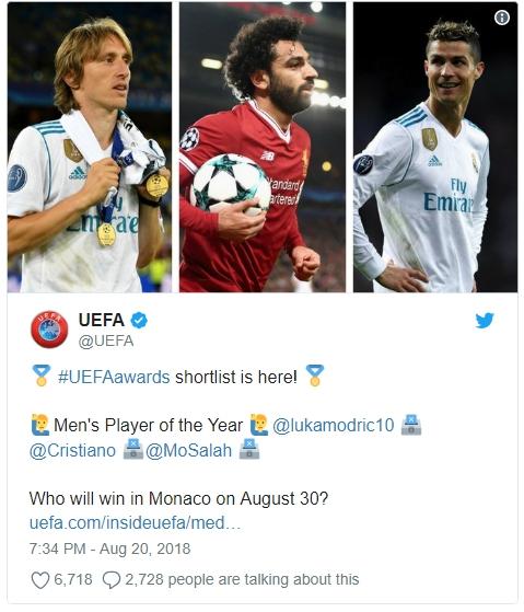 Modric, Salah Dan Ronaldo Adalah Pemain Terbaik Versi UEFA